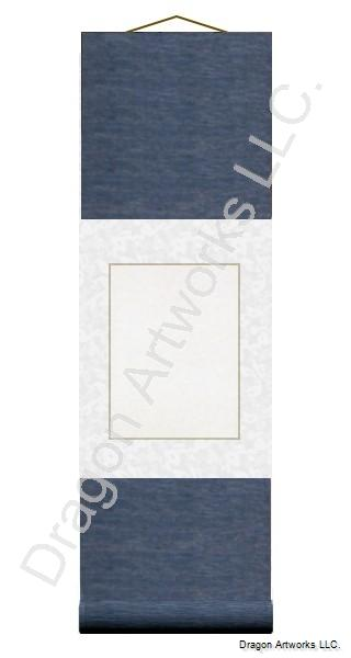 Small Chinese Blank Paper Wall Scroll - Blue and White Silk