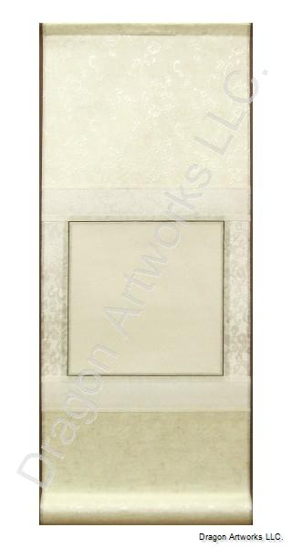 Blank Paper Scroll - Cream and White Color Silk