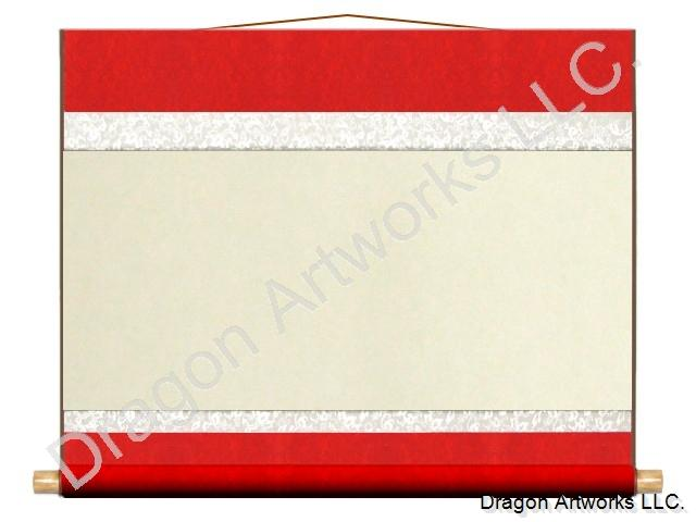 Red/White 26x21 Inch Blank Paper Chinese Wall Scroll