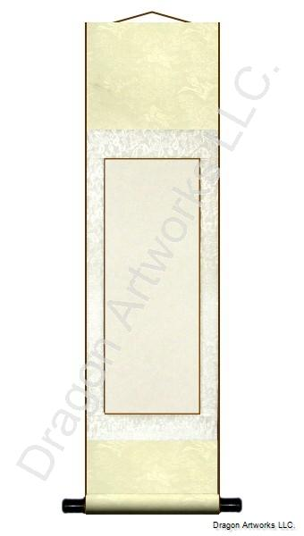 Cream and White 9x33 Inch Blank Chinese Scroll