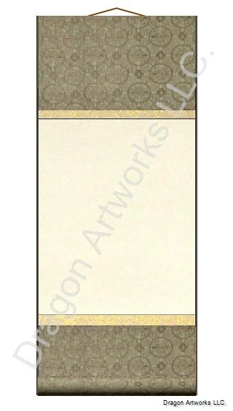 Brown and Gold 10x23 Inch Blank Wall Scroll