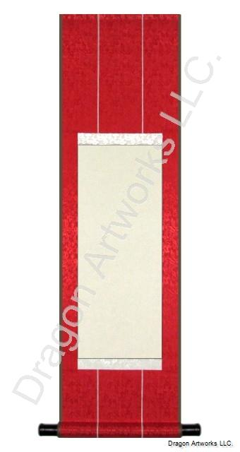 Museum Quality Red Silk Blank Paper Wall Scroll