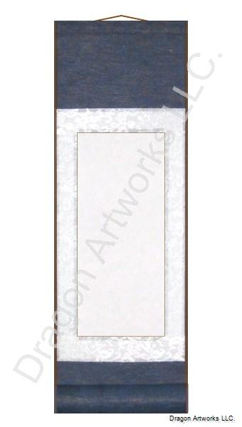 Small Blank Paper Scroll - Blue and White Silk