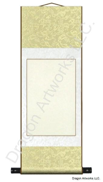 Medium Yellow/White 11x29 Inch Blank Chinese Wall Scroll