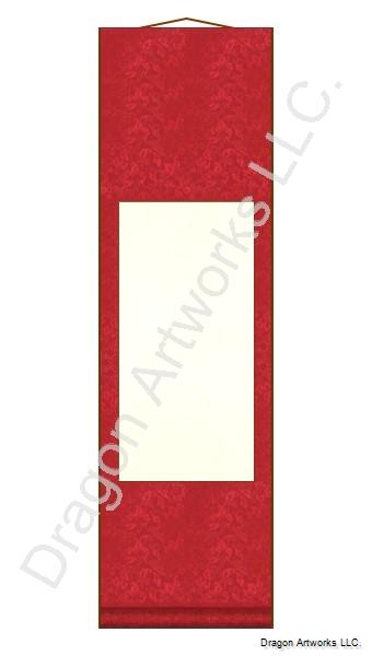 Small Bright Red Blank Wall Scroll Painting