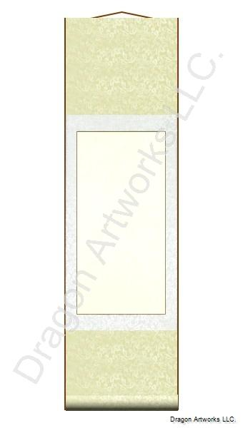 Cream and White Blank Wall Scroll Painting