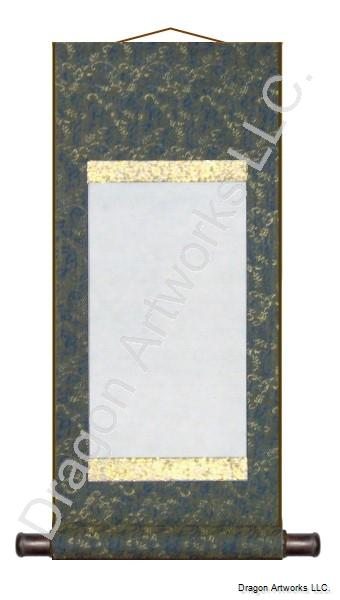Blue With Gold Trim Blank Wall Scroll