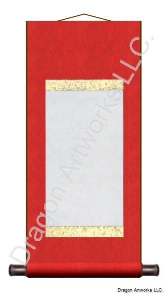 Red With Gold Trim Blank Wall Scroll