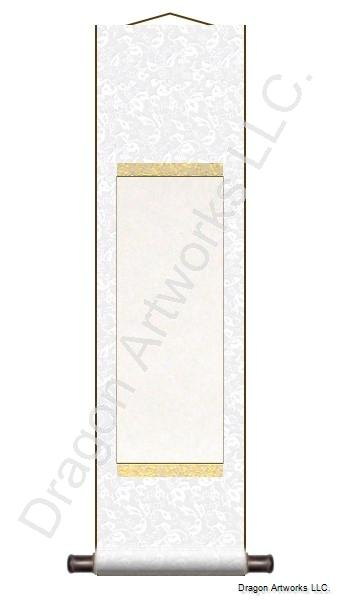 Pure White Blank Paper Scroll With Gold Trim