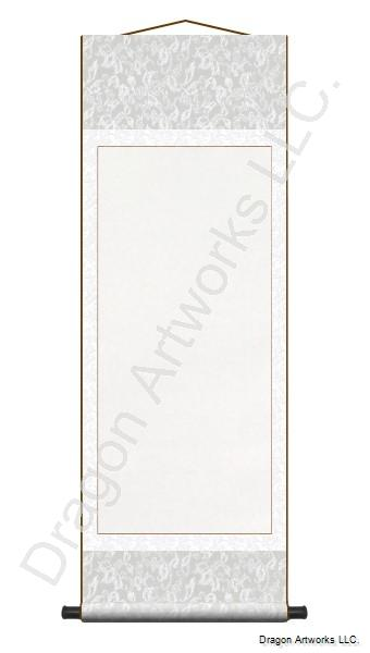 Silver and White Blank Paper Wall Scroll Painting