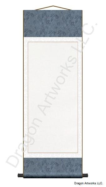 Slate Blue and White Blank Paper Scroll Painting