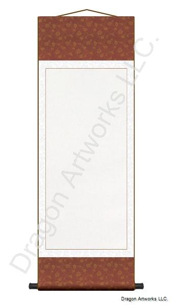 Purplish Red and White Blank Paper Wall Scroll Painting