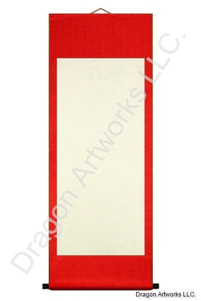 Auspicious Red Blank Paper Wall Scroll Painting