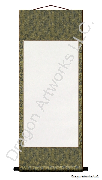 Blue/Gold Silk Brocade Blank Paper Wall Scroll