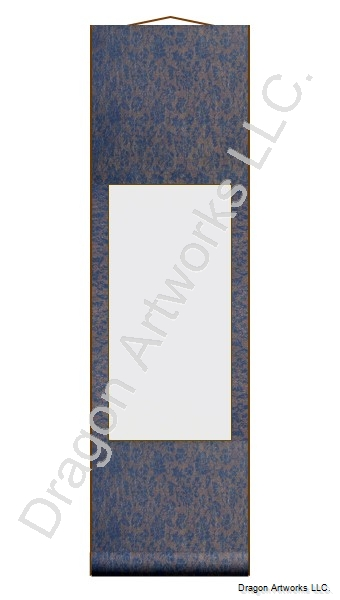 Small Solid Blue Blank Chinese Wall Scroll