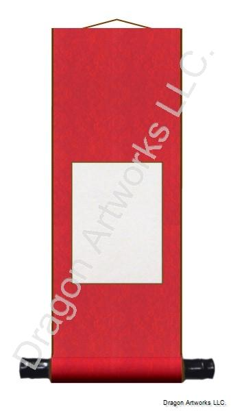 Bright Red 7x19 Inch Blank Chinese Wall Scroll
