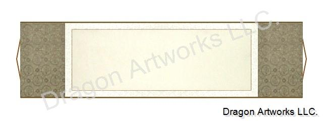 Horizontal Brown 54x15 Inch Blank Paper Chinese Wall Scroll