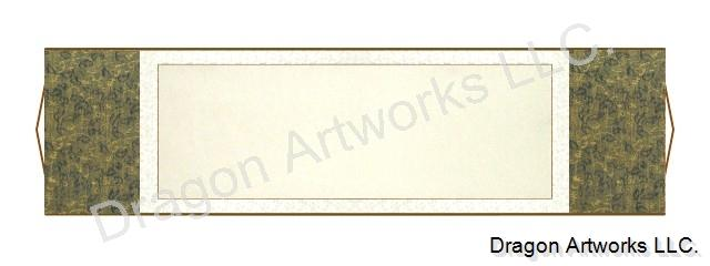 Horizontal Blue-Gold and White 54x15 Inch Blank Wall Scroll