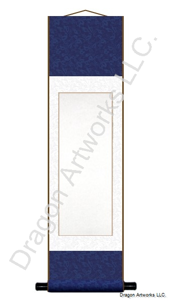 Navy Blue and White Blank Paper Wall Scroll Painting