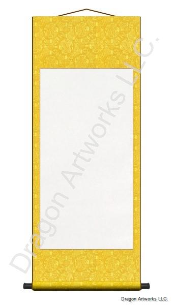 Archival Wet Mounted Yellow Blank Paper Wall Scroll