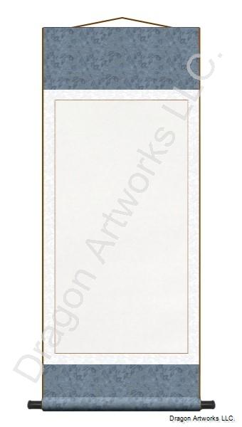 Light-Blue Archival Mounted Blank Paper Wall Scroll Painting