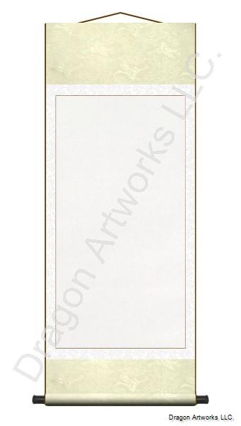 Cream and White Archival Mounting Blank Paper Wall Scroll