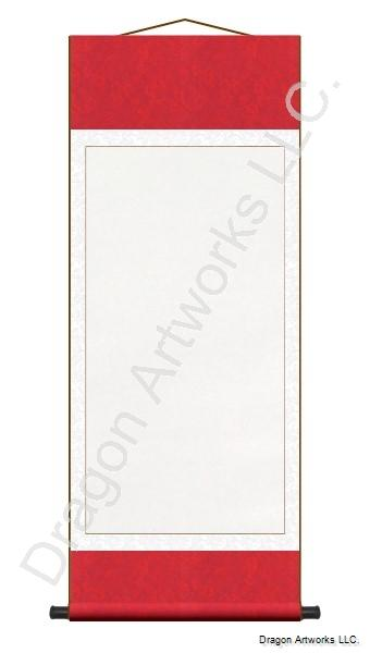 Archival Mounting Red and White Blank Wall Scroll