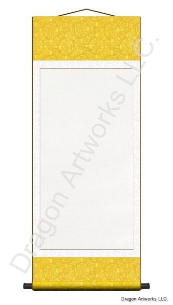 Yellow and White Archival Mounted Blank Wall Scroll
