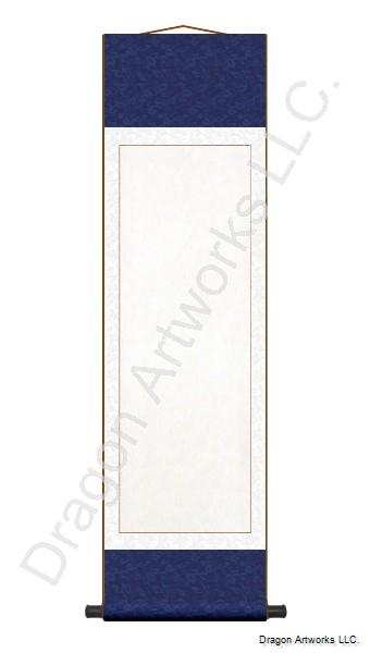 Navy Blue and White Blank Paper Wall Scroll