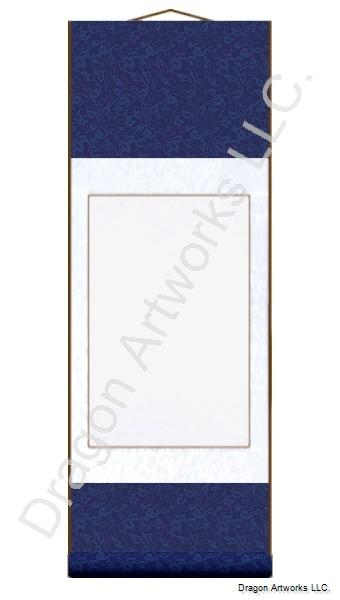 Navy Blue and White Blank Chinese Wall Scroll