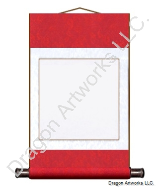 Red/White Blank Paper Wall Scroll Painting