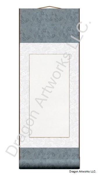 Slate Blue Blank Paper Wall Scroll Painting