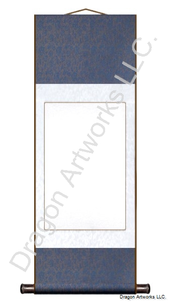 Blue and White Silk Blank Paper Chinese Wall Scroll