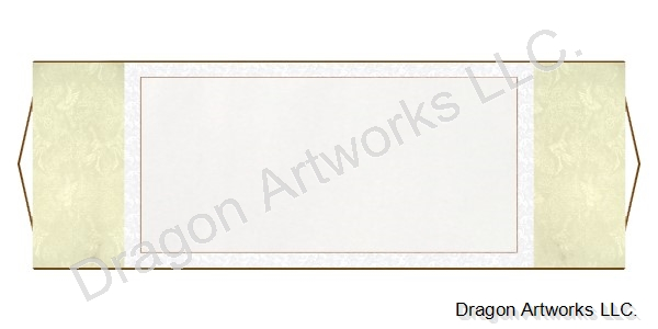 Cream and White Horizontal Blank Wall Scroll