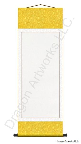 Large Blank Wall Scroll - Golden Yellow and White