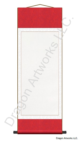 Red/White Blank Paper Chinese Wall Scroll