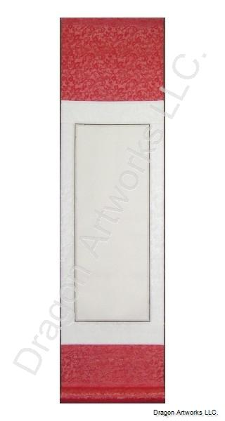 Crimson and White Blank Chinese Rice Paper Wall Scroll