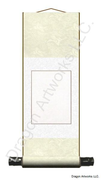 Small Cream and White Silk Blank Chinese Scroll