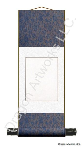 Small Blue-White Blank Wall Scroll With Wood Rods