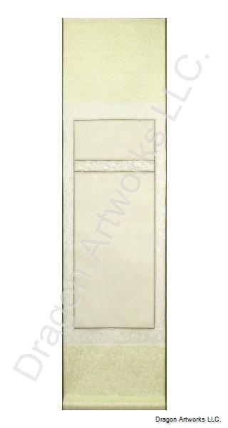 Blank Wall Scroll - Cream and White Silk Two Panel