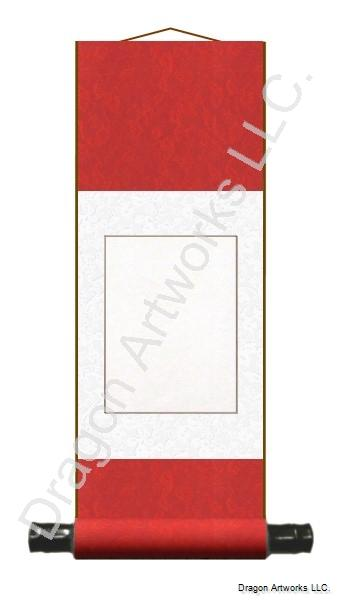 Blank Wall Scroll - Chinese Red and White Silk