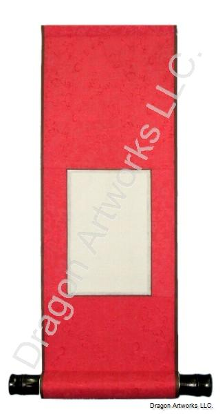 Blank Chinese Rice Paper Scroll - Red Silk Brocade