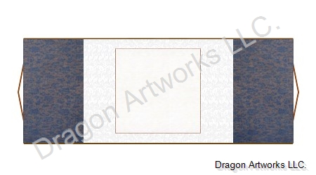 Horizontal Blank Paper Chinese Scroll - Blue and White