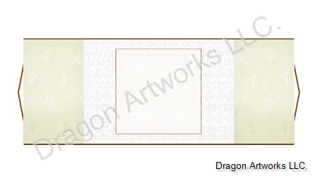 Horizontal Chinese Blank Wall Scroll - Cream and White