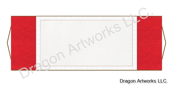 Red and White Horizontal Blank Paper Wall Scroll